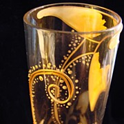 Victorian Art Glass Vase with Gold Swirls