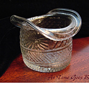 SALE Blown Three Mold American Flint Glass Hat With Sunburst Pattern