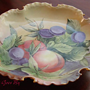 SALE Hand Painted Rosenthal Porcelain Fruit Comport, Plums and Nectarines