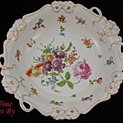 Unusual Hand Painted Dresden Flower Porcelain Centerpiece Bowl with Pansies - Klemm