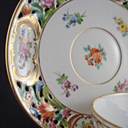 RARE Thieme Dresden Flower Reticulated Coffee Cup & Saucer - Set of 11