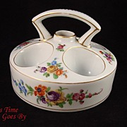 Hand RARE Hand Painted Dresden Flower Porcelain Egg Server/Warmer - Klemm