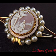 SALE Cameo and Pearl Brooch