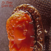 Beautiful Antique Victorian Coral Cameo Brooch on 14K Gold Backing