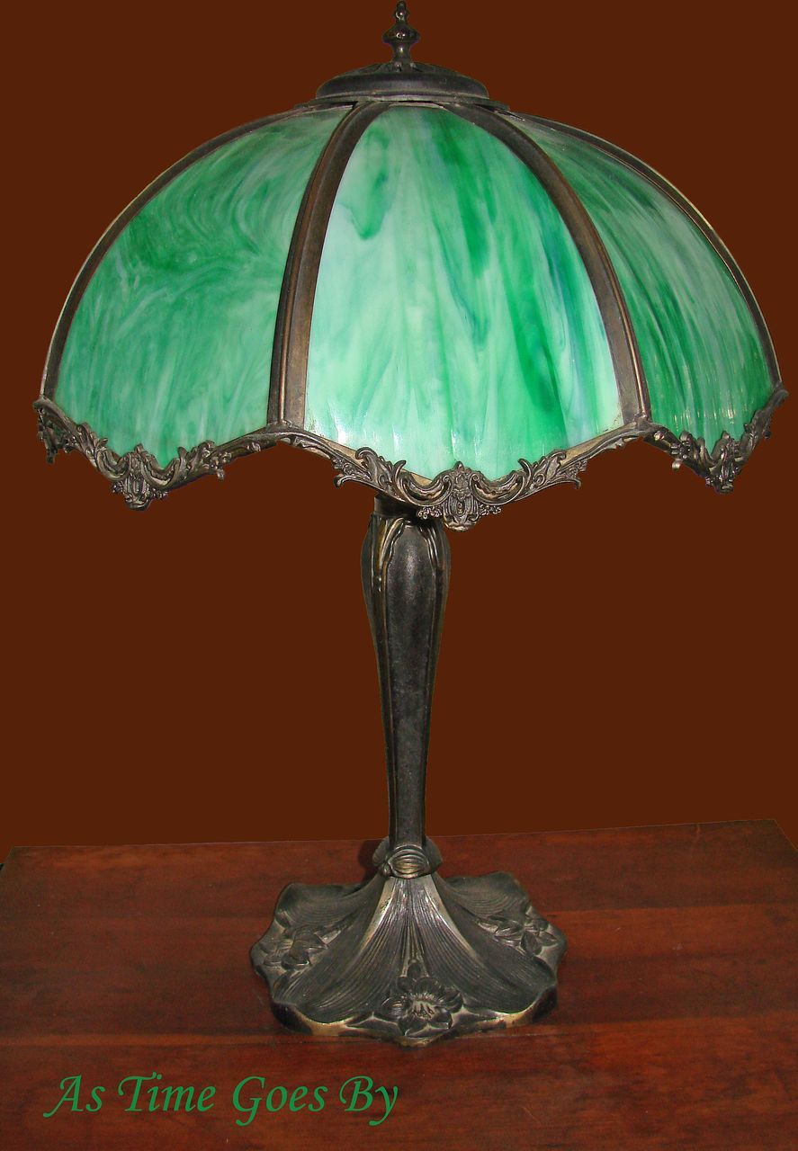 Early 20th Century Vintage Green Glass Table Lamp From