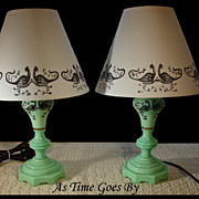 Beautiful Vintage Pair of Jadeite Lamps with Handpainted Shades