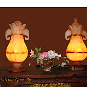 Victorian Alabaster Urn Form Lamps with Elephant Handles