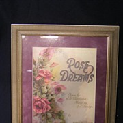 """Rose Dreams"" Music Sheet Framed 1920"