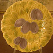 Set of 3 French Majolica Sarreguemines Fruit Plates    c.1910-1920
