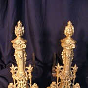Pr 1920's French Cast Iron Andirons Fireplace