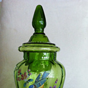 Vintage Bohemian or  Czech  Swirl  Glass Candy Jar -  Hand Painted Birds