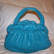 SALE Vintage Leather Turquoise Handbag Purse Paristyle