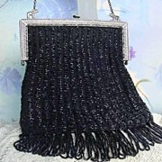 SOLD Flapper Long Fringe Antique Vintage Black Glass Beaded Purse Silver Elephants Original Si