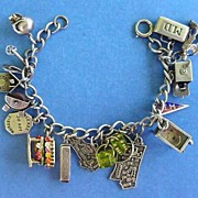 SOLD Vintage Mechanical Loaded 16 Sterling Silver Charm Bracelet Pin Ball Machine Signed DANEC