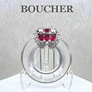 SOLD Rare Vintage BOUCHER CLEAR LUCITE & Rhinestone Fur Clip Signed Numbered Art Deco Design
