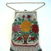 SOLD Pretty Beaded 1920�s Vintage Purse with Fringe Vase & Flowers Design