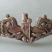 SOLD Vintage WWII U.S. Navy Submariner�s Sterling Insignia Pin with Fish Marked