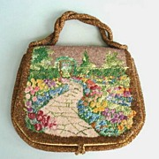 SOLD Charming Illustrated Vintage Purse Garden / Path Arbor Glass Beads Needlepoint Signed