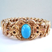 SOLD Exceptional VintageYellow Gold Filled Expansion Bracelet Faux Turquoise Cabochon