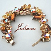 SOLD Vintage Chunky Juliana D&E Bracelet Topaz Kite & Dangling Lemon Glass Stones Book Piece