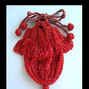 SOLD Fabulous 1920�s Red Glass Beaded Reticule Flapper Drawstring Purse with Pom Poms & Fringe
