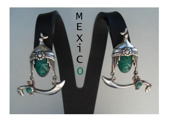 Rare Vintage 1920's Mexican Screw Back Dangle Earrings Mask Hat Moon Snake Sword Marked
