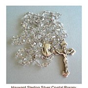SOLD Vintage Hallmarked Hayward Sterling Silver Cut Crystal Bead Rosary Filigree Floral End Ca