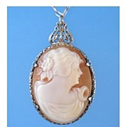 SOLD Antique Carved Cameo Victorian Pendant Necklace Sterling Silver Hallmarked