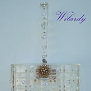 SOLD Vintage Pillbox WILARDY Clear Lucite Rhinestone Purse Enamel Flower Clasp Checkerboard De