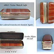 SOLD Antique 1880�s Pocket Vesta Match Safe Amber Color Translucent Banded Agate & Silver