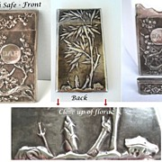 SOLD Antique Pocket Vesta Match Safe Japanese Repousse Coin Silver Cherry Blossoms Hallmarks