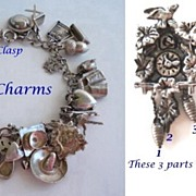 SOLD 1940's Charm Bracelet 31 CHARMS Sterling Silver Many Mechanical Signed and Unsigned