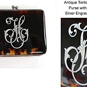 SOLD Antique Purse Genuine Tortoise Shell Sterling Silver Engraved Initials Fully Lined