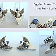 SOLD RARE Vintage Egyptian Revival Collar Tips Set Sterling Scarab Beetle Lazurite Food Ball M