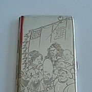 Rare Antique Sterling JAPANESE Cigarette Case 6+Inches Engraved 7 Immortals Fortune Gods Boat