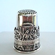 SOLD Rare Antique Sterling Silver Religious Last Supper Thimble Signed Holy Land 12 Apostles U