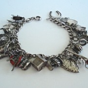 SOLD 1940's Sterling Silver Charm Bracelet 25 CHARMS Many Unusual & Many Mechanical Rare Pole