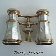 SOLD Vintage Late 1800's French Mother of Pearl & Brass Opera Glasses Paris Hallmarked Le Mair