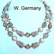 Beautiful Vintage West Germany Double Strand Necklace Crystals Glass Beads