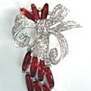 Vintage LARGE Floral Trifari Alfred Phillipe Fur Clip Ruby Rhinestones Pave Bow Rhodium Signed