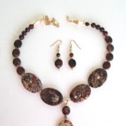 Artisan Brecciated Jasper Set Necklace & Dangle Earrings Gold Filled Findings