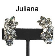 JULIANA D&E � Black Diamond Rhinestone Earrings Rhodium Metal Excellent with Wired Floret