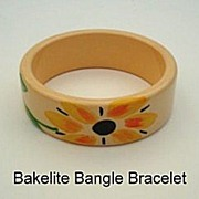 SOLD EXCEPTIONAL One-of-a Kind Vintage Hand Painted BAKELITE Bangle Flower Design Chunky & Wid