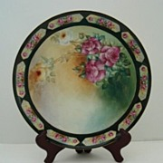 SOLD Antique Limoges T&V France Hand Painted Porcelain Charger PINK Yellow and White Victorian