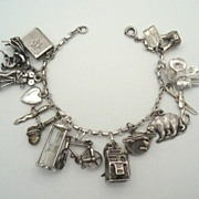 SOLD Fantastic 1940's Loaded Sterling Silver Charm Bracelet 14 CHARMS Mechanical