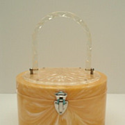 SOLD Vintage Pearlized LUCITE Pill Box Purse Deeply Reverse Carved Floral Top Very Roomy