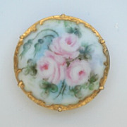 SOLD Early Vintage 1900's Hand Painted Floral Porcelain Brooch Pin Lavish Gold Leaf Flourishes