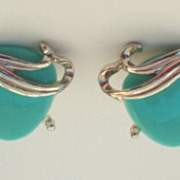Vintage Chunky Blue Turquoise Lucite Earrings with Gold Tone Metal