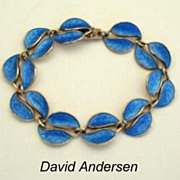 SOLD Vintage David Andersen Bracelet Sterling Silver Blue Guilloche Enamel Double Leaf Norway