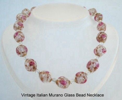 Early 1920's Italian Murano Jumbo Hand-Blown Glass Bead Necklace Embedded Florals